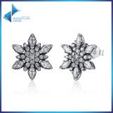 925 Prata Sterling Crystalized for Women Jóias Flocos De Floco De Neve Stud Earrings