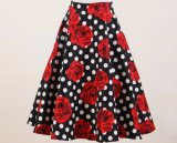 Vente en gros Polka DOT Red Flower Rocknroll Full Circle Dancing Jupes