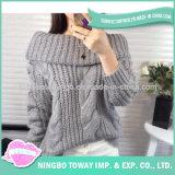 Mode tricotant à la main le chandail 100% de pull de femmes de polyester de laines