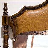 Neues modernes echtes hölzernes ledernes Bett mit festem Holz Fram für Wohnzimmer-Möbel As819