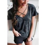 2017枚の新しい設計されていた女性のカムフラージュのV首の緩くTシャツの100%年の綿(17005)