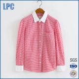 Overhemd van de Vrouwen van de Controle van de Koker van de manier 100%Cotton het Lange