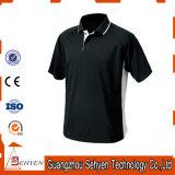 T-shirts de polo de noir de coton de la qualité des hommes faits sur commande