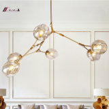 Modern Five Lights Glass Chandelier Lighting com base de metal para o hotel