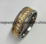 Ring van de Plaat van Quliat Titaniumr van Shineme de Hoge Gouden met 9 Stenen