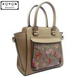シルクスクリーンの花模様が付いているベージュカラー女性ハンドバッグ