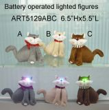 Decoração de Natal Furry Cat com Happy Lighted Eyes-3astst