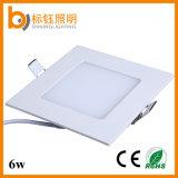 lampe de panneau encastrée de la qualité DEL du plafond 6W d'usine carrée ultra-mince de lampe
