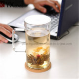 650mlハンドルまたはDrinkwareジュースのミルクのコーヒーレモンガラスマグのコップが付いている高いホウケイ酸塩ガラスの単一の壁のガラス茶ビールコップ