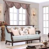 Strato classico del tessuto del sofà di amore della presidenza antica stabilita classica della sede con il blocco per grafici di legno per il salone