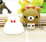 Movimentação animal da pena do USB do PVC da movimentação do flash do USB do urso