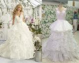 Een een een lijn/Ivoor/Wit van de Prinses/van de Witte Kleding van het Huwelijk Organza