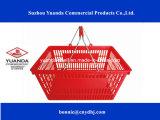 2016 paniers à provisions en plastique de supermarché en gros roulant le panier