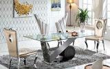 Tipo domestico di lusso Tabella pranzante di vetro (A8066) dell'acciaio inossidabile della mobilia