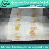 Indicateur de mouillabilité Textile imprimé Backsheet Tissu non tissé pour couches de bébé