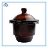 Desecador de vácuo de vidro marrom com porcelana