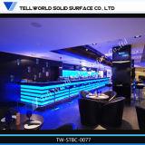 150의 종류 LED 판매, 현대 대리석 빗장 카운터 디자인을%s 상업적인 백색 인공적인 돌 바 카운터