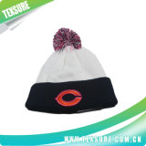 流行の男女兼用の冬の球(095)が付いている平野によって編まれる帽子の帽子