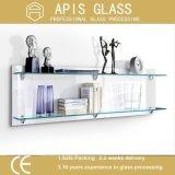 estante de cristal del cuarto de baño Tempered claro de 6m m con el borde Polished