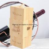 Imballaggio di legno non finito del vino stampato marchio su ordinazione