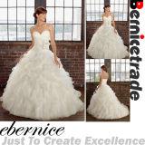 Longue robe de mariage sans bretelles de nouvelle organza de White/Ivory (C12029-1)