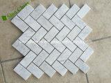 Белая мраморный картина мозаики Chevron плитки нутряной стены