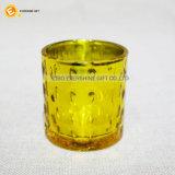 Geprägter Glaskerze-Halter mit Vergoldung