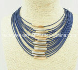 Mode Jewelry/Leather avec Brass Tube Necklace (XJW13525)