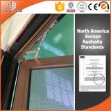 Ventana sólida revestida de aluminio de aluminio de madera de roble de las técnicas de la capa del polvo de la ventana de la inclinación y de la vuelta de la rotura termal