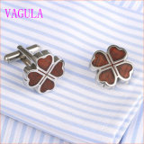 VAGULA 운이 좋은 잎 스테인리스 빨간 목제 커프스 단추 360