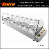 Sale chaud Commercial Food Warmer, Electric Bain Marie avec Curve Glass 6 Basins, CE Approved (VB-95)