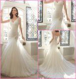 V-Шея мантии венчания Tulle Bridal отбортовывает платье венчания Y6401 Mermaid