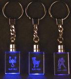 昇進のギフトのためのロゴのLED水晶KeychainガラスKeychain