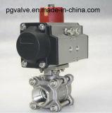 Robinet à tournant sphérique de voie de l'actionneur pneumatique CF8m 1000wog 3 avec ISO9001