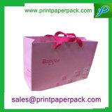 Saco de papel roxo impresso do presente de Eco costume amigável