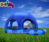 Piscina inflável de 6 pernas com barraca