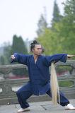 道教Taiのキーの人の方法の方法Kongfuのスーツを示す高級な亜麻のスポーツ