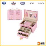 Caja de joyería de cuero exclusiva de calidad superior del regalo de la fuente grande