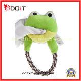 Juguete del animal doméstico del juguete del perro de la rana de la felpa con la cuerda durable