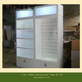 Carrinho de exposição de madeira com a caixa leve do diodo emissor de luz