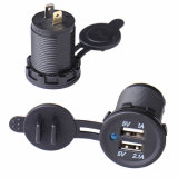 防水Power Adapter Outlet Car Cigarette Lighter Socket DC 12V Dual USB Charger