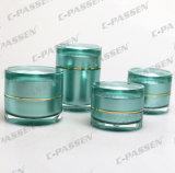 新しい到着の贅沢な緑のアクリルの装飾的な瓶及びびんの包装(PPC-CPS-058)