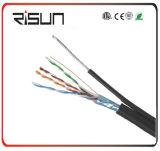 Cable de LAN al aire libre F/UTP Cat5e con el mensajero (compuesto de la jalea, chaqueta del PE)