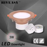 3W 2.5 programa piloto integrado de la lámpara SMD Ce&RoHS del proyector de la pulgada LED Downlight de oro