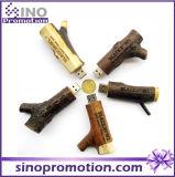 Movimentação de madeira relativa à promoção do flash do USB de Brown 64GB da pilha da madeira