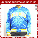 Шелк таможни куртки бомбардировщика вышивки сатинировки голубой