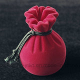 Jewelry de encargo Bag Shape Velvet Ring Box Flocked Box con Rope