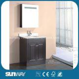 Fußboden - eingehangene MDF-Badezimmer-Möbel mit Spiegel-Schrank