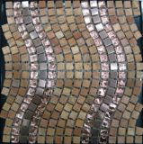 Mattonelle di mosaico di marmo di cristallo dell'acciaio inossidabile del materiale da costruzione della Camera (FYSM137)