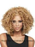 Cabelo Curly do Short europeu e americano da forma da peruca da mulher preta